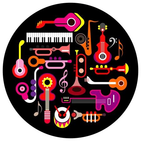 note musicali: Strumenti musicali - illustrazione rotonda su sfondo nero. Icona isolato set.