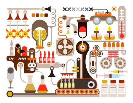 ampule: Pharmaceutical laboratory - illustration on white background. Medical factory. Illustration