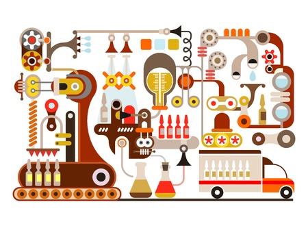 Pharmaceutical factory - illustration on white background   Illustration