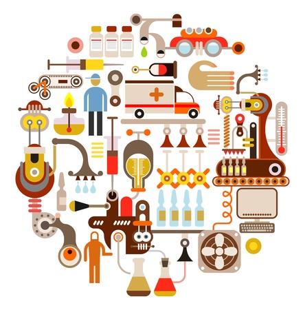 Pharmaceutical laboratory - round vector illustration on white background.  Vector