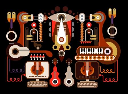 musical instruments: F�brica de instrumentos musicales - ilustraci�n de color. Aislado sobre fondo negro.