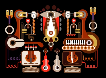 music machine: Musical instrument factory - color illustration. Isolated on black background. Illustration