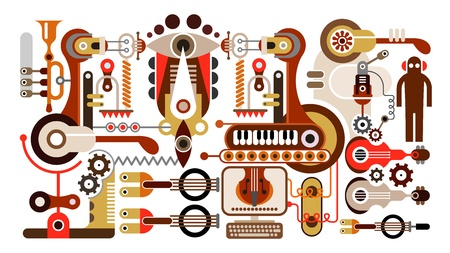 music machine: Musical instrument factory - abstract illustration. Isolated on white background.