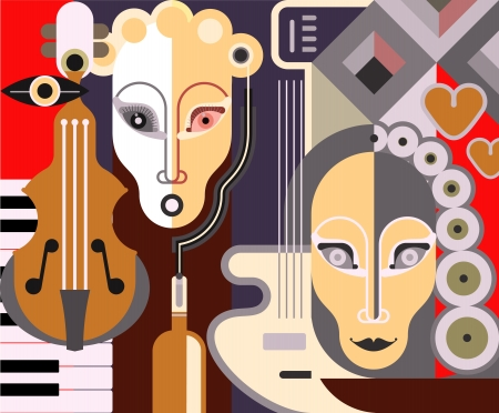 jazz music: Abstract Musical Background - illustration.