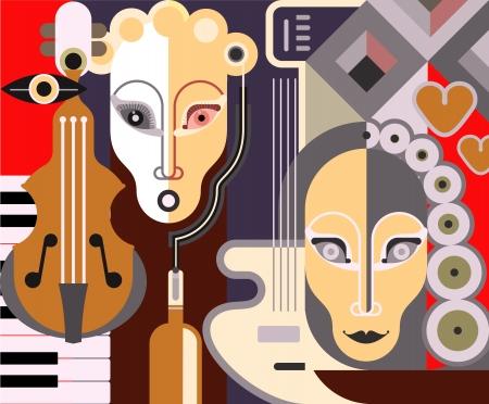 chiave di violino: Astratto sfondo musicale - illustrazione.