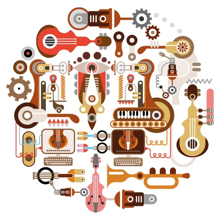 instrumentos musicales: Tienda de instrumentos musicales - fondo abstracto. Ilustraci�n aislada redonda sobre fondo blanco.