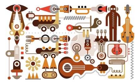 bot:  Music Party - abstract illustration. Isolated on white background.
