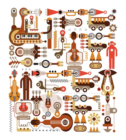 Musical instrument factory Stock Vector - 15426187