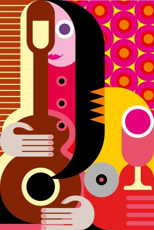 Modern abstract portrait of woman with guitar