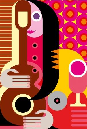 artes plasticas: Retrato abstracto moderno de la mujer con guitarra