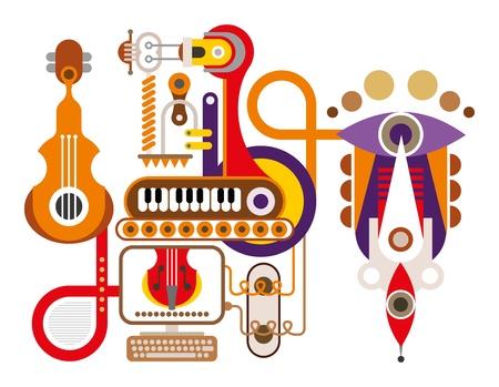 boite a musique: Music Machine - illustration abstraite. Isol� sur fond blanc. Bo�te � musique.