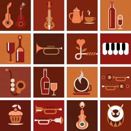 Musique café. Résumé fond musical. Banque d'images - 16025086