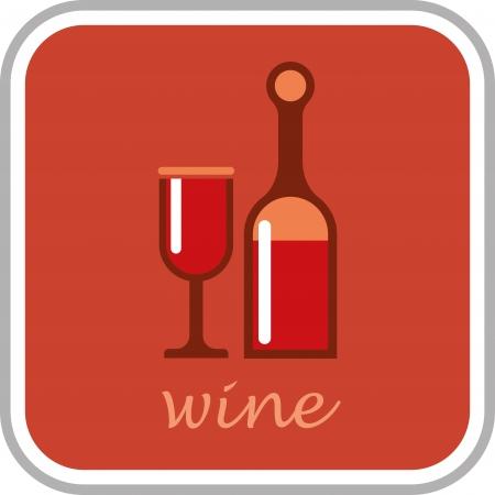 claret red: Botella de vino y vidrio Vectores