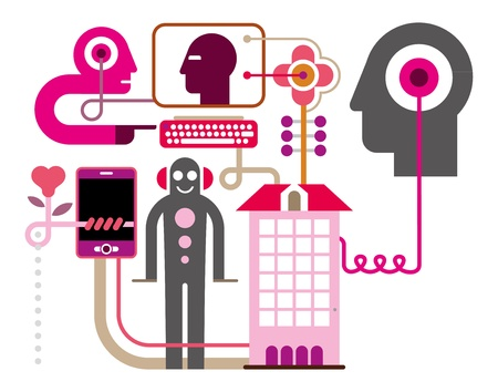 coordination: Social Media - vector illustration on white background. Communication Network.