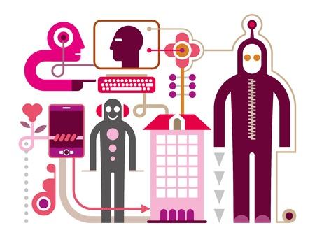 Social Media - vector illustratie op witte achtergrond. Communication Network.