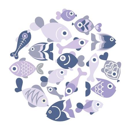 fish icon: Blue aquarium fishes - isolated icons on white background. Round shape.