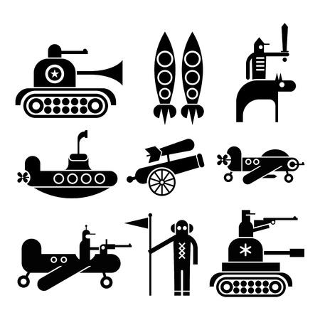 submarino: Iconos Militares establecido. Iconos negros aislados sobre fondo blanco.