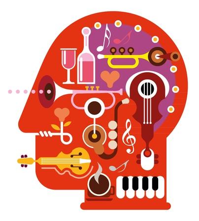 抽象音楽の頭に-白い背景で隔離された図。音楽の心。