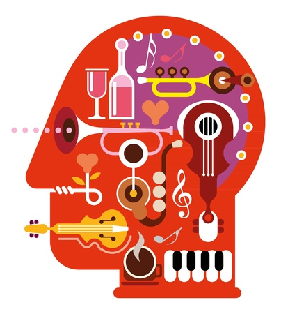 Abstract music head - isolated  illustration on white background. Musical minds.