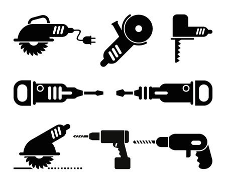 power tools: Electric Tools - set of isolated vector icons on white background.