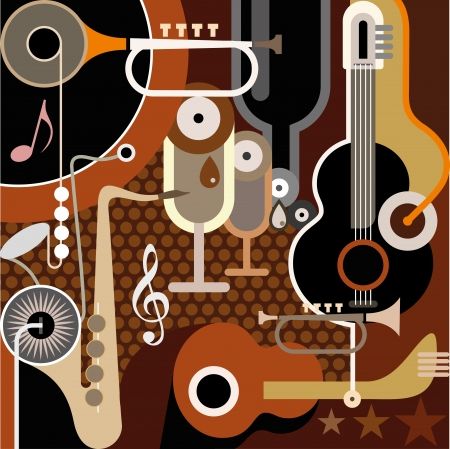 dance music: Abstract Muziek Achtergrond - illustratie. Collage met muziekinstrumenten.