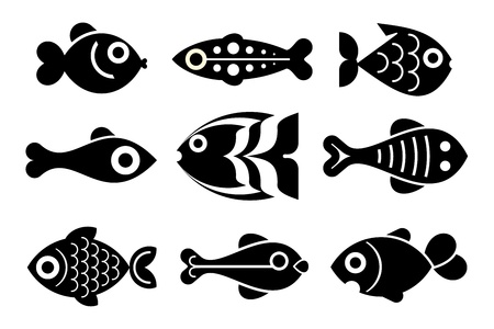 blanco negro: Peces - conjunto de iconos del vector aislados. Negro sobre fondo blanco.