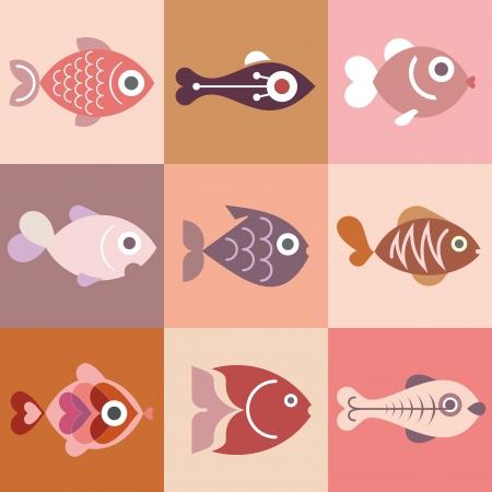 fish icon: Aquarium fishes - vector illustration, isolated design elements.