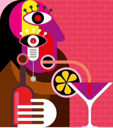 picasso: Lonely woman drinking a cocktail - abstract vector illustration  Art work