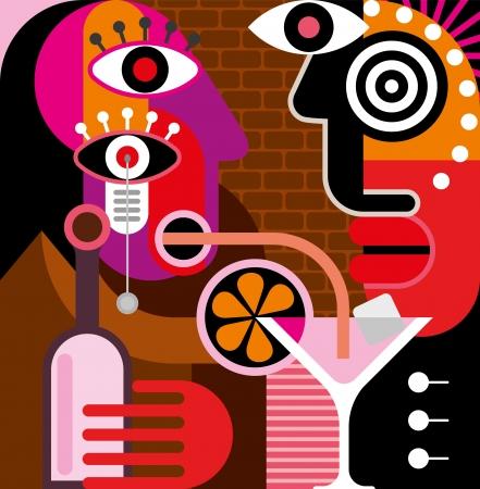 男性と女性のバーで話を抱えています。女性はストローのピンクのカクテルを飲んでいます。