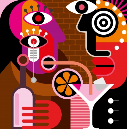 A man and a woman are having a talk at the bar. A woman is drinking a pink cocktail through a straw. Illustration