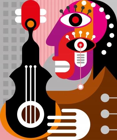 Vrouw gitaar spelen - vector illustratie. Abstracte vrouw portret.