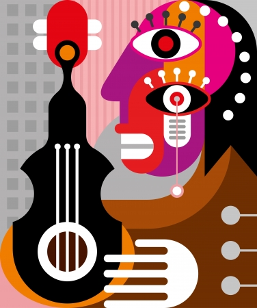 Woman playing guitar - vector illustration. Abstract woman portrait.