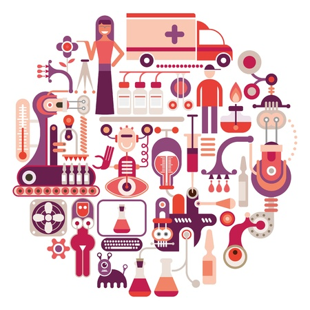 Farmaceutisch laboratorium - ronde illustratie op witte achtergrond. Medische industrie.