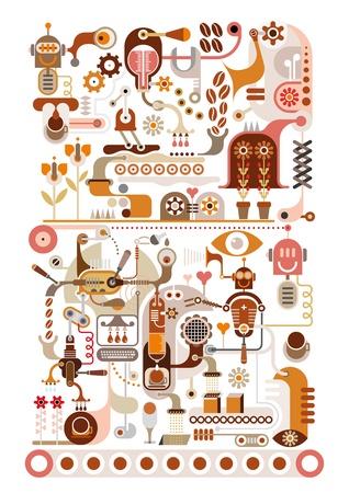 Coffee Making Factory  Illustration