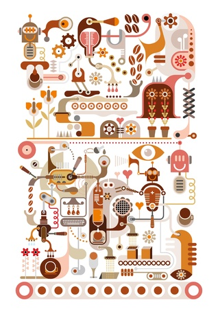 coffee: Coffee Making Factory  Illustration