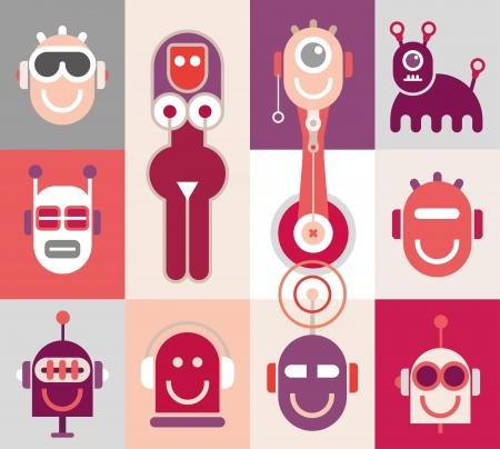 robot head: Robot Heads - color vector illustration.