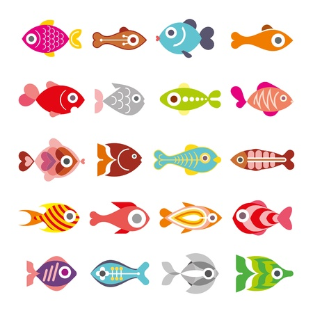 coral: Aquarium Fishes - set of vector icons. Isolated on white background. Illustration
