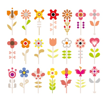 white flower: Flowers - set of isolated vector icons on white background. Illustration