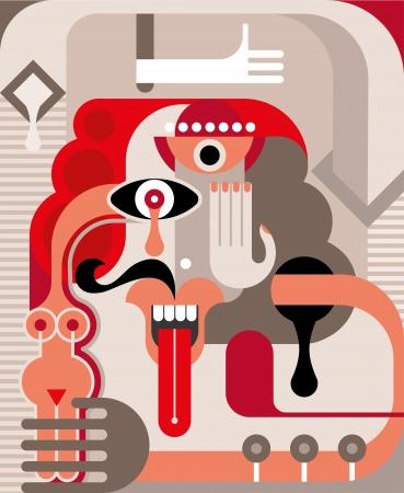 Abstract portret van de mens Stock Illustratie