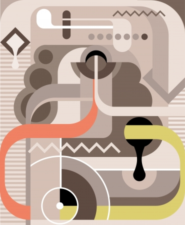 run out: Abstract vector illustration. Grey, green and pink backdrop.