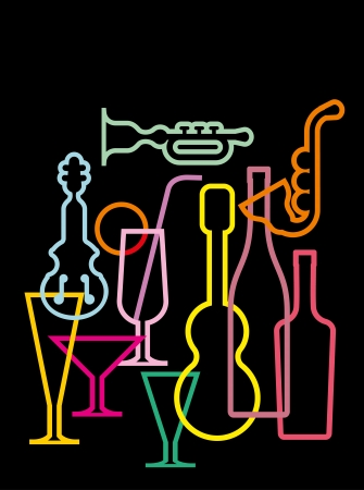 Neon silhouettes of music instruments, glasses and bottles - isolated on black background.