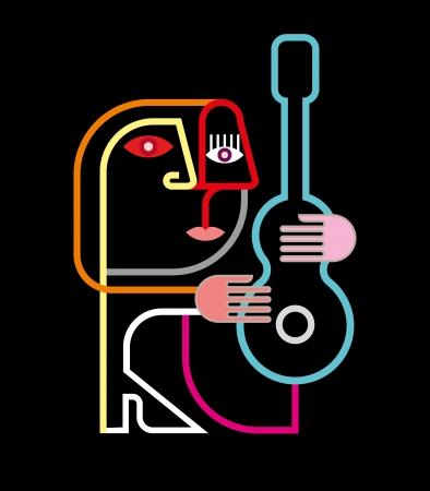 ギター - 黒の背景に図を持つ男。ネオンのシルエット。