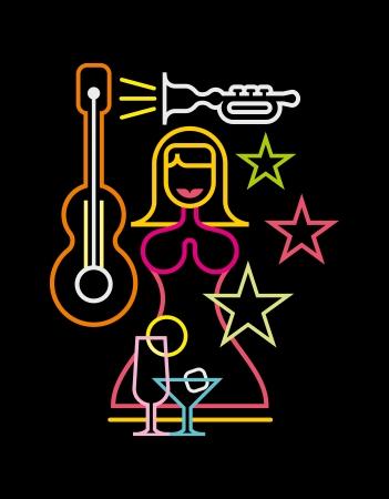 estrella de la vida: Night Club letrero de neón ilustración vectorial sobre fondo negro