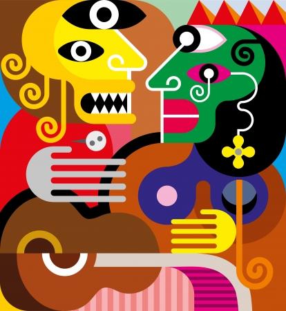 gitana: La mujer y el hombre - ilustraci�n vectorial. Mujer gitana y su marido celoso.