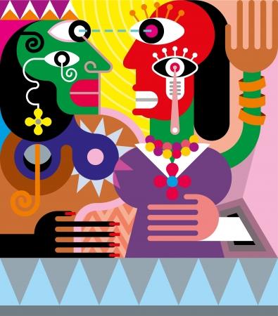 Femme et homme illustration vectorielle abstraite. Moderne des beaux-arts. Vecteurs