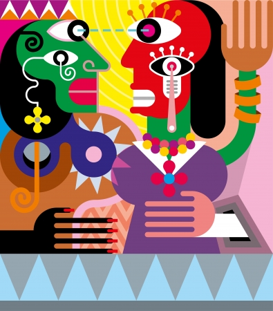 picasso: Woman and man abstract vector illustration. Modern fine art.