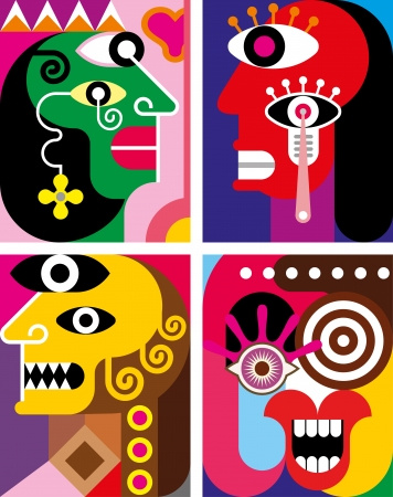 modern art: Four Faces - abstract illustration. Contemporary art. Illustration