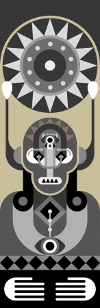 environmental suit: Man Portrait - abstract  illustration. Totem.