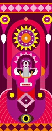 Totem pole. Man Portrait - abstract  illustration. Vector