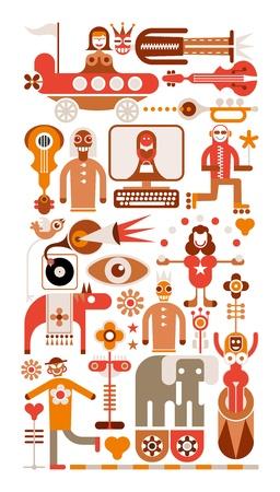 fondo de circo: Circus - color ilustración vectorial. Iconos aislados sobre fondo blanco. Vectores